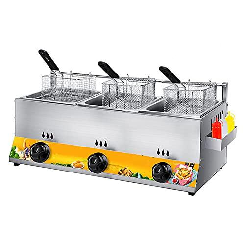 Deep Fryer Freidora a Gas, encimera de Acero Inoxidable liviano Comercial Dos lavabos de 10 L de...