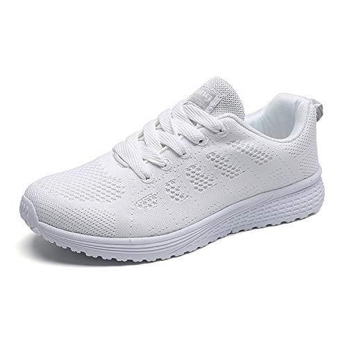 Hoylson Zapatillas de Deportivos para Mujer Running Zapatos Asfalto Ligeras Calzado Aire Libre Sneakers(Blanco, EU 39)