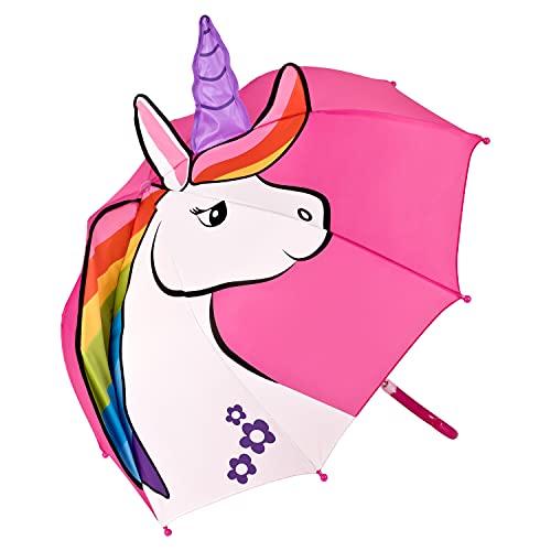 VON LILIENFELD Regenschirm Kinderschirm Einhorn Regenbogen Mähne pink rosa Junge Mädchen Kids bis ca. 8 Jahre