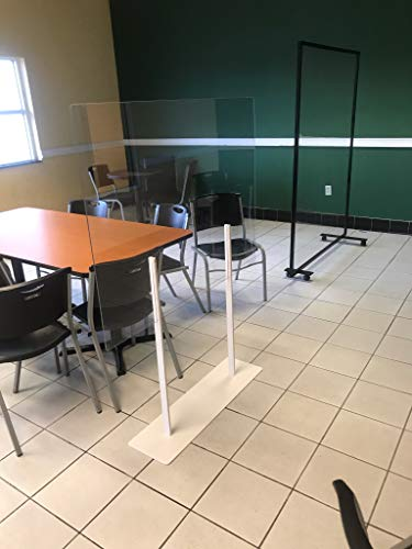 """Plexiglass Partition Dividers 61""""H x 48""""W - Clear Screens Sanitation Walls/Great for Offices, Salons, Clinics, Nail Salons, and Restaurants (White)"""