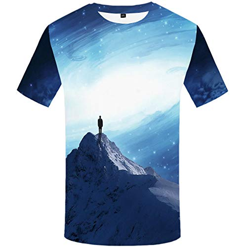 YAMAO Rundhals T- Shirt Homme,Sport, T-Shirt imprimé Snow Mountain Grande Taille col Rond Manches Courtes