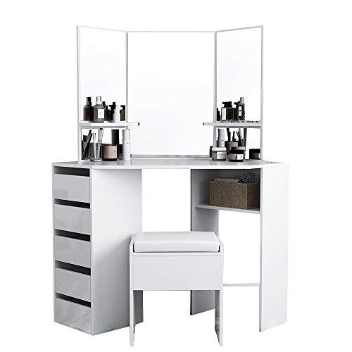 Corner Makeup Vanity Table Set Makeup Vanity with Three-Fold Mirrors and 5 Drawers Bedroom Dressing Table Makeup Table Corner Vanity for Women Girls
