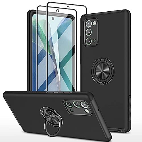 SmaCase Funda Compatible con Samsung Galaxy Note 20 Carcasa +2 Piezas Protector de Pantalla 360 Grados Anillo Giratorio para Soporte -...
