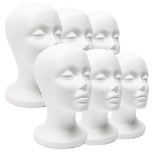 SWIDUUK Tête de mannequin femme en mousse de polystyrène pour chapeau, perruque, bijoux, chapeau