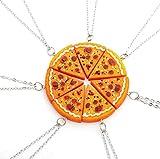 Fusicase 6pcs/lot Bling Silver Friend Friendship Couple Pizza Metal Necklace(Orange)