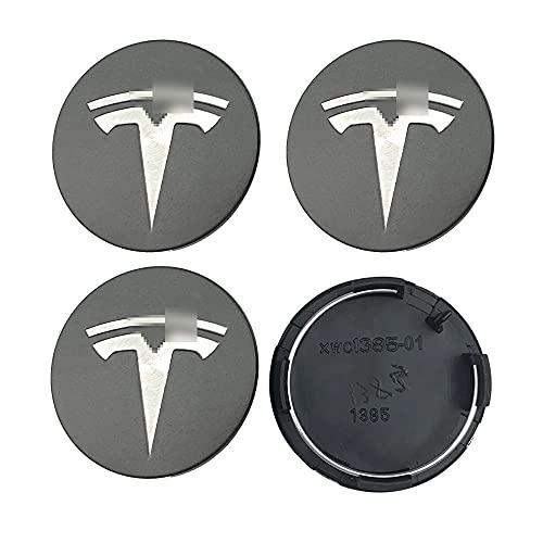4 Unids/Set, Tapas De Cubo De Centro De Rueda De Coche, Cubiertas A Prueba De Polvo, Llantas, Emblema, Tapa De Cubo, Tapacubos para Tesla Model S X 3, 57mm, Gris, Plateado