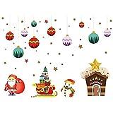 Gmasuber Adhesivo decorativo para pared de ventana de Navidad, para el hogar, decoración de Navidad, impermeable, papel pintado de pared, pegatinas de cristal, 50 x 70 cm