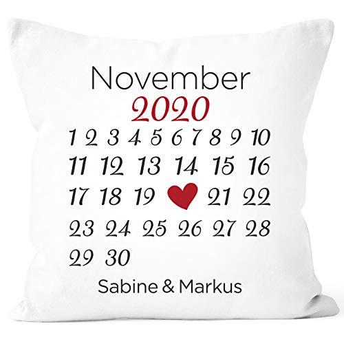 SpecialMe® personalisiertes Kissen Kalender mit anpassbarem Datum und Wunsch-Namen Geschenk Liebe weiß Unisize