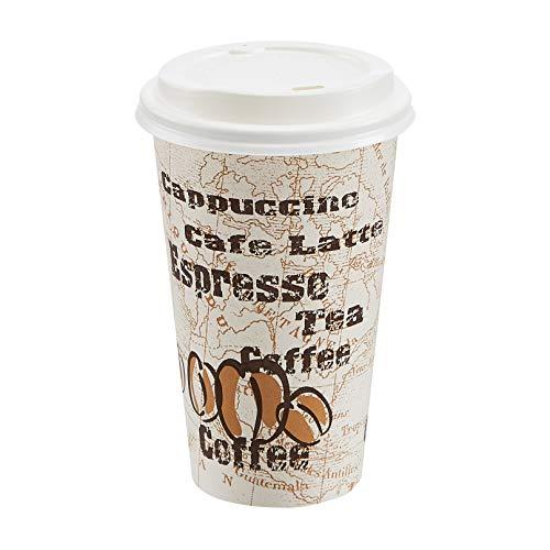 AmazonBasics Hot Cups with Lids, Café Design, 16 oz, 300-Count