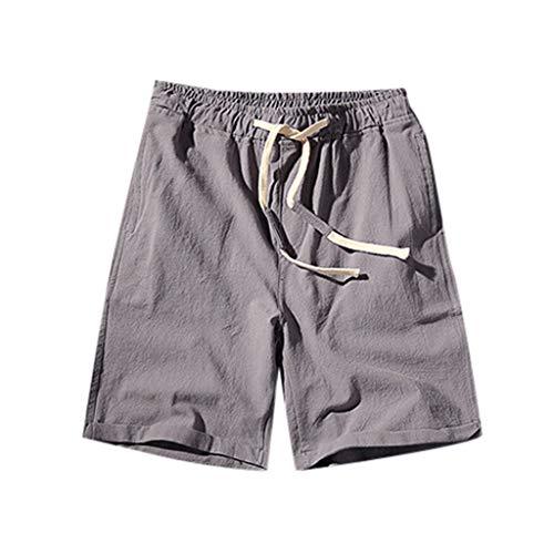 GreatestPAK Sommer Shorts Herren Bequeme schlanke Kurze Hosen lässig Baumwolle Leinen dünn 3/4 Hosen,Grau,EU:M(Tag:XL)