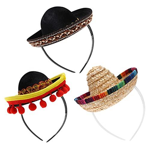 Lurrose Partyhut Mexikanischer Cinco de Mayo Hut Mini Fiesta Sombrero Hut Strohhut Sombrero Hut für Männer Frauen Karneval für Haustiere (bunt)