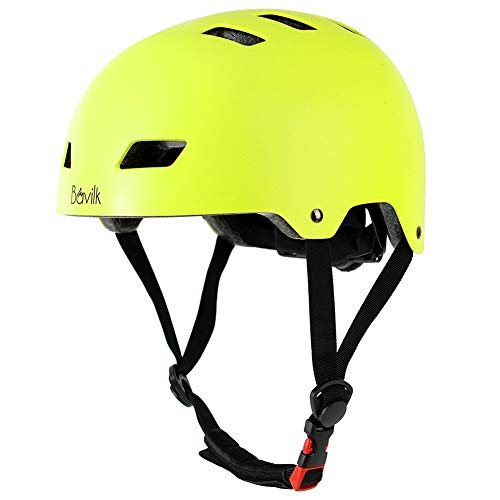 Why Choose Bavilk Skateboard Bike Helmets CPSC ASTM Certified Multi Sports Scooter Inline Roller Skating 3 Sizes Adjustable for Kids Youth Adults Yellow Green L
