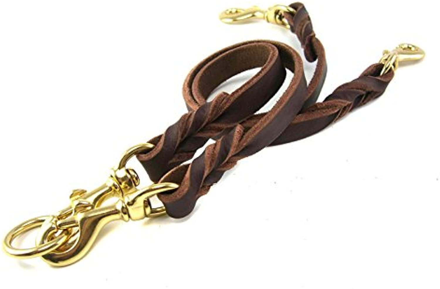OCSOSO Dual Double Dog Leash NoTangle Geniue Leather Braided Lead for Two Medium Large Dogs (M)