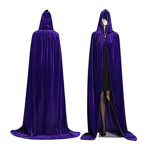 Capa con Capucha Negro Largo Disfraz de Halloween Terciopelo Carnaval Navidad Fiesta Disfraces para Mujeres Hombres