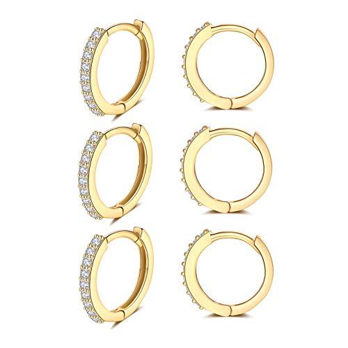 Pendientes de aro de plata de ley 925 chapados en oro de Huggie, 3 pares de pendientes de aro de plata de ley 925, pendientes de plata de ley para hombres y mujeres.