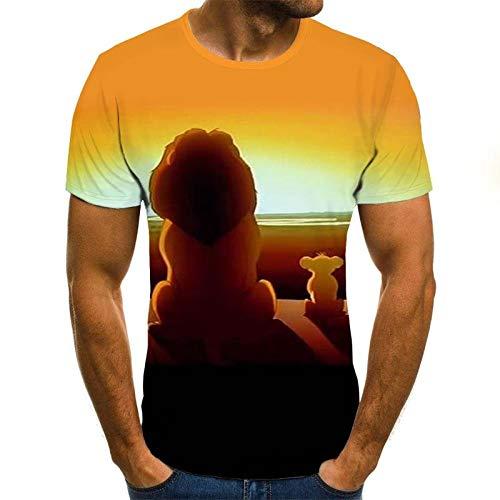LKFTH Farbdruck Herrenmode Löwenmuster O-Ausschnitt Pullover Herren 3D T-Shirt Kurzarm Persönlichkeit Coole T-Shirts S As Show D
