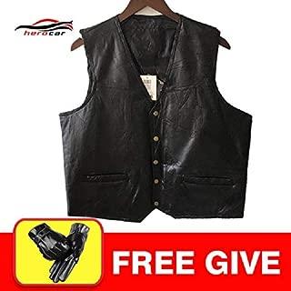 Jackets - Motorcycle Jacket Sheepskin Genuine Leather Vest Moto Jacket Leather Punk Classic Style Motorcycle Club Jacket Motorcycle Vest - by BLUMECA