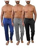 Andrew Scott Men's Pack of 3 Soft & Light 100% Cotton Drawstring Yoga Lounge & Sleep Pant (3 Pack- Black/Denim/Heather Gray, Small)