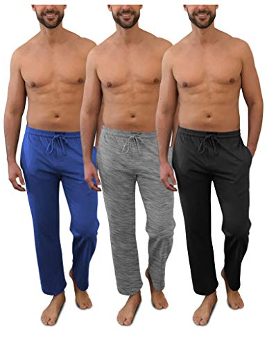 Andrew Scott Men's Pack of 3 Soft & Light 100% Cotton Drawstring Yoga Lounge & Sleep Pant (3 Pack- Black/Denim/Heather Gray, Medium)