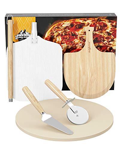 Piedra redonda para pizza de 40 cm, de cordierita, para horno y parrilla, incluye pala de madera, pala de aluminio para pizza y pala para hornear pizzas y pan