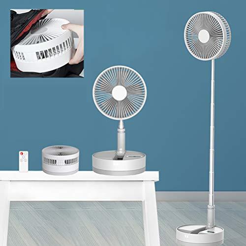 Zhyaj Ventilador Portátil De Pie/8' De Pedestal Plegable Ventiladores De Altura Ajustable/4 Velocidades/con Luz Nocturna/USB Ventilador De Piso Accionado por Energía,Blanco