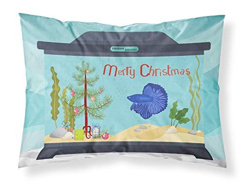 Caroline's Treasures CK4532PILLOWCASE Super Delta Tail Betta Merry Christmas Fabric Standard Pillowcase, Standard, Multicolor