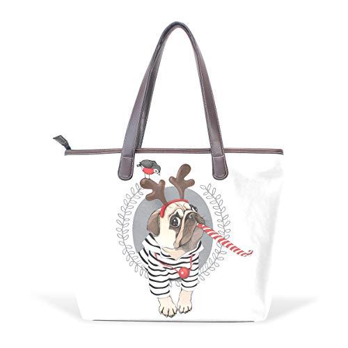 NaiiaN Leder Weihnachten Stil Mops Hund gestreifte Strickjacke Horn Hirsch Umhängetaschen Leichtgewicht Gurt Geldbörse Einkaufstaschen Einkaufstasche Groß für Frauen Mädchen Damen Student