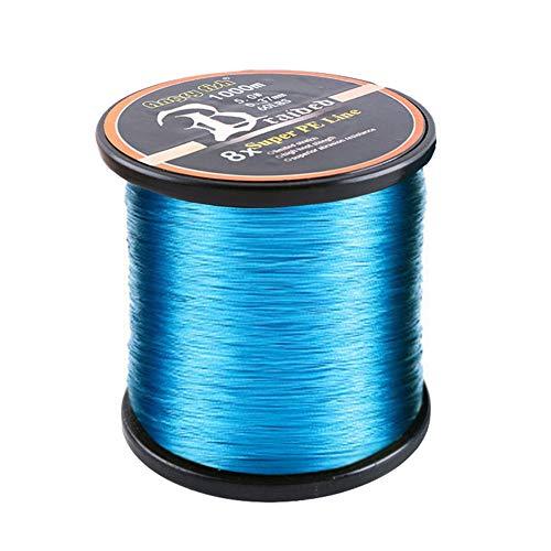 LSHEL Hilo de Pesca 1000 m, Trenzado de Polietileno de 8 Capas, Fuerte Hilo antibesos, Unisex, Azul, 0.8# 0.15mm/8.18kg/18lb