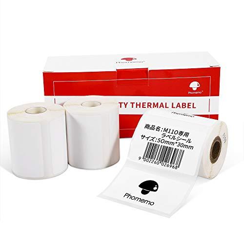 Phomemo M110対応 純正 感熱ロール紙 3巻 シール 値札 50mm*30mm 矩形タイプ 230枚入り/巻 3巻 感熱ラベルプリンター用 業務用ハンドラベラー 印刷用紙 接着剤ある 通常再剥離 宛名/DVDラベル/手書き/値札/アドレス/バーコ
