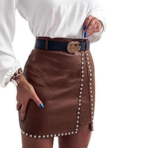 Loalirando Damenrock aus Kunstleder mit hoher Taille und Strasssteinen, elegant, sexy Minirock aus Leder mit Nieten, Braun S