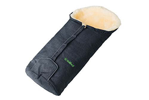 Fellhof Lammfell-Fußsack Meribel, OEKO-TEX® Standard 100 zertifiziert, 35x80 cm, wind- und wasserdicht, bei 30 °C waschbar, für Babyschale und Babywanne (Anthrazit-melange)