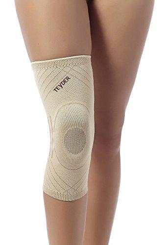 Teyder Premium Elastische Kniebandage ohne Schienen | Für leichte Knieschmerzen (M, Schwarz)