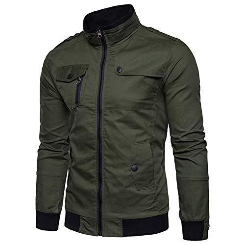 Jacket Men Autumn Casual Jacket Coat Mens Pilot Jackets Cargo Jacket Solid Flight Jacket Male Windbreaker Clothes Green Asain Size S