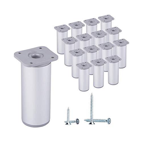 (Paquete de 16 piezas) Patas de muebles redondas de altura ajustable, Materiales: Plástico, Aluminio. Tornillos incluidos (16, 10 cm de altura)