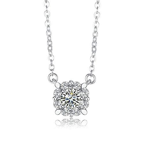 Daesar Colgantes Mujer Oro 18K Blanco,Collar Mujer Plata 4 Garras Redonda Diamante 0.09ct