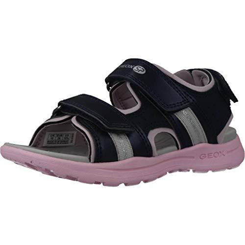Geox VANIETT Girl J926AB Mädchen Trekking Sandalen,Kinder Outdoor-Sandale,Sport-Sandale,Aussensteg,3-Fach Klett,Navy/LT PINK,28