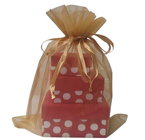 "5 Large Organza bag 12"" X 14"" Basket, candle, packaging (Gold)"