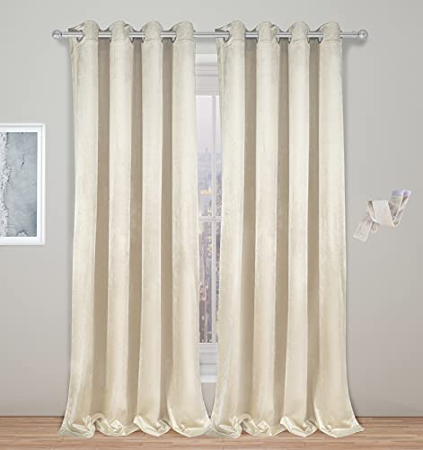 Velvet Curtains & Drapes, Ivory Living Room Curtains for Windows, Luxury 96 Inch Curtains 2 Panel Set for Bedroom Farmhouse Dining Room,Modern Light Filtering Curtains 52 Inch Width,Cortinas Para Sala
