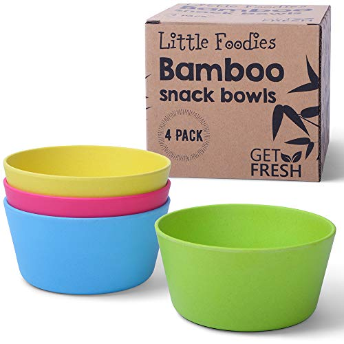 GET FRESH Snack Ciotole per Bambini in Bambù - 4/pz Set da Cucina in Bambù - Stoviglie per Bambini in Bambù Fibra - Servizi da Tavola per Bambini in Bambù - Bamboo Kids Dinnerware Bowls Set