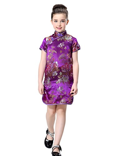 Bitablue Girls Chinese Dress in Violet with...