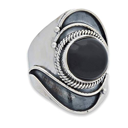 Anillo de plata de ley 925 ónice (No: MRI 229-03), Ringgröße:62 mm/Ø 19.7 mm