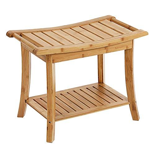 FXYY Douchebank van bamboe houten spa bank kruk met opbergvak, badstoel douchestoel transferbanken, binnen en buiten