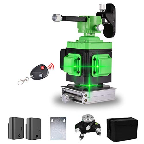 Kreuzlinienlaser 25M, Careslong 3 x 360° grüner Laserpegel selbstausgleichende, Super Strahl grüner 3D 12 Linien, IP 54 Selbstnivellierende Vertikale und Horizontale Linie (inklusive 2pcs Batterie)