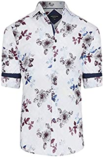 Tarocash Men's Leonardo Slim Print Shirt Cotton Slim Fit Long Sleeve Sizes XS-5XL for Going Out Smart Occasionwear