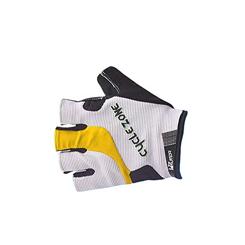 Guantes antideslizantes de silicona para motocicleta, para ciclismo, para equitación, senderismo, caza, MTB, escalada, ciclismo, hombres y mujeres, Unisex adulto, color Blanco-amarillo, tamaño xx-large