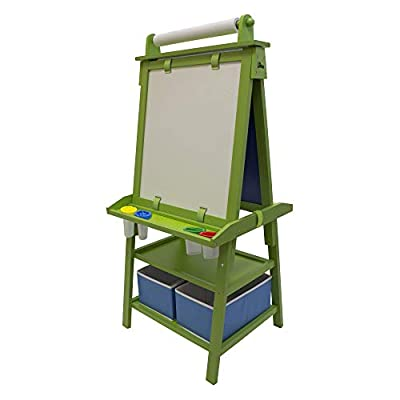 Little Partners 2-Sided A-Frame Art Easel with Chalk Board, Dry Erase, Storage, Paper Feed and Accessories for Toddlers (Apple Green)