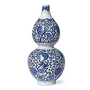 Silk Flower Arrangements Dahlia Ancient Lucky Lotus Motif Blue and White Porcelain Flower Vase
