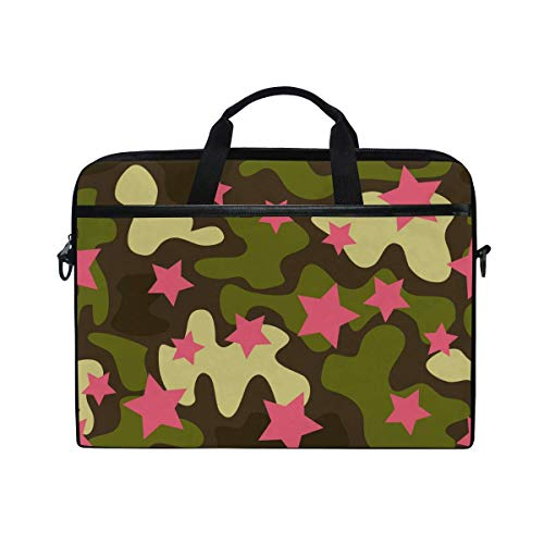 Laptop Sleeve Case,Laptop Bag,Camo Green Pink Star Pattern Water Briefcase Messenger Notebook Computer Bag with Shoulder Strap Handle,29×40 CM/15.6 Inch