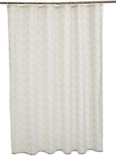 Amazon Basics Duschvorhang, Stoff, bedruckt, 180 x 200 cm, Fischgrätmuster, naturfarben