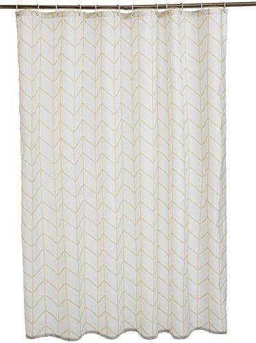Amazon Basics - Cortina de ducha de tejido estampado (180 x 180 cm), diseño de espiga beige